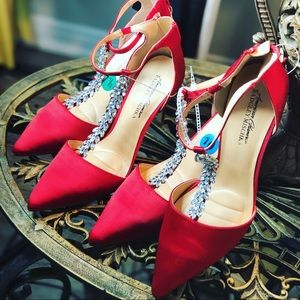 Red Satin Shoes Rhinestones Brand New 7.5/size 10